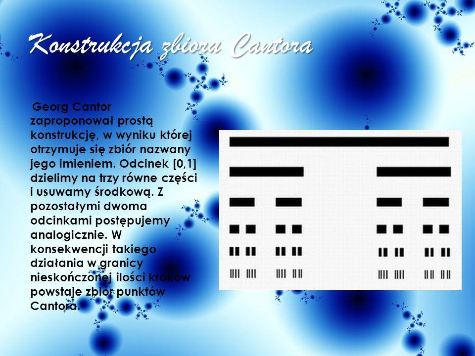 Zbiór Cantora Georg Cantor (1918-1945) był wybitnym niemieckim matematykiem - twórcą m. in. teorii mnogości. Zbiór przez niego stworzony jest niezwykl