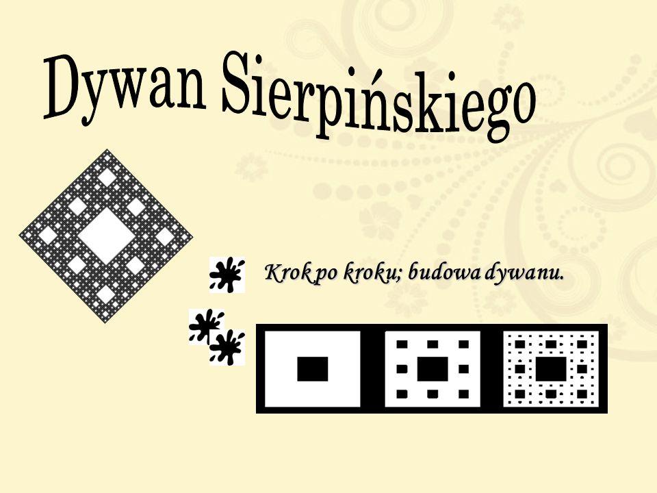 Dywan Sierpinskiego Dywan Sierpińskiego to fraktal otrzymany z kwadratu za pomocą podzielenia go na dziewięć (3x3) mniejszych kwadratów, usunięcia śro