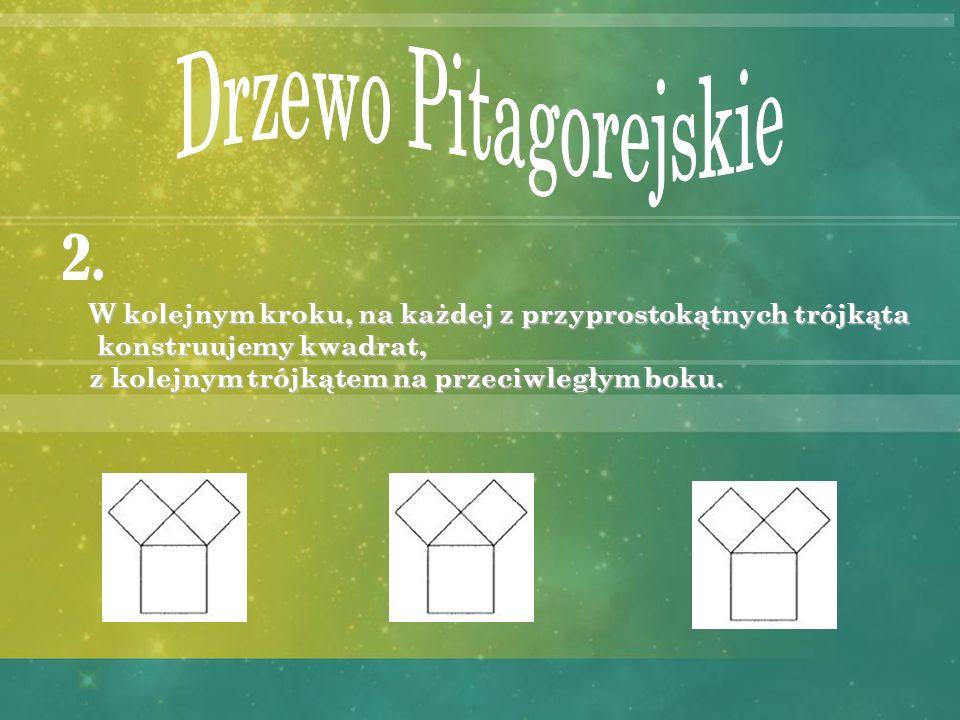 W pierwszym kroku rysujemy kwadrat. 1. Następnie trójkąt prostokątny równoramienny, którego przeciwprostokątna jest jednym z boków kwadratu.