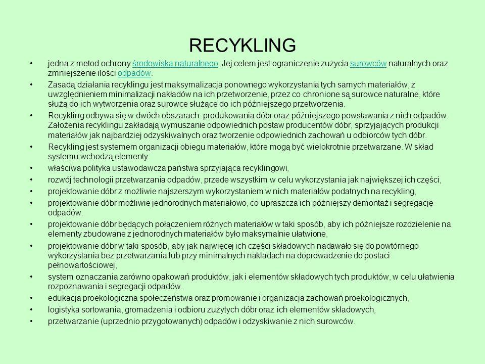 jedna z metod ochrony środowiska naturalnego. Jej celem jest ograniczenie zużycia surowców naturalnych oraz zmniejszenie ilości odpadów.środowiska nat