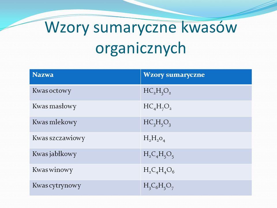 Wzory sumaryczne kwasów organicznych NazwaWzory sumaryczne Kwas octowyHC 2 H 3 O 2 Kwas masłowyHC 4 H 7 O 2 Kwas mlekowyHC 3 H 5 O 3 Kwas szczawiowyH2