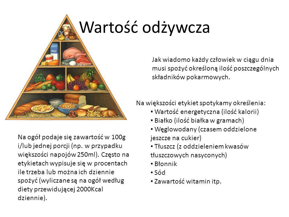 Wartość odżywcza Jak wiadomo każdy człowiek w ciągu dnia musi spożyć określoną ilość poszczególnych składników pokarmowych. Na większości etykiet spot