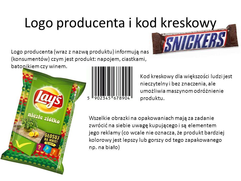 Logo producenta i kod kreskowy Logo producenta (wraz z nazwą produktu) informują nas (konsumentów) czym jest produkt: napojem, ciastkami, batonikiem c