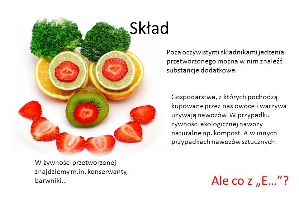 Skład Poza oczywistymi składnikami jedzenia przetworzonego można w nim znaleźć substancje dodatkowe. Gospodarstwa, z których pochodzą kupowane przez n