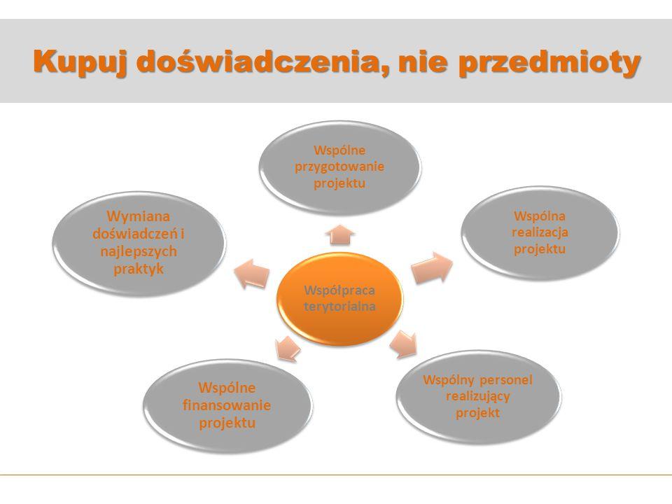Kupuj doświadczenia, nie przedmioty Współpraca terytorialna Wspólne przygotowanie projektu Wspólna realizacja projektu Wspólny personel realizujący projekt Wspólne finansowanie projektu Wymiana doświadczeń i najlepszych praktyk