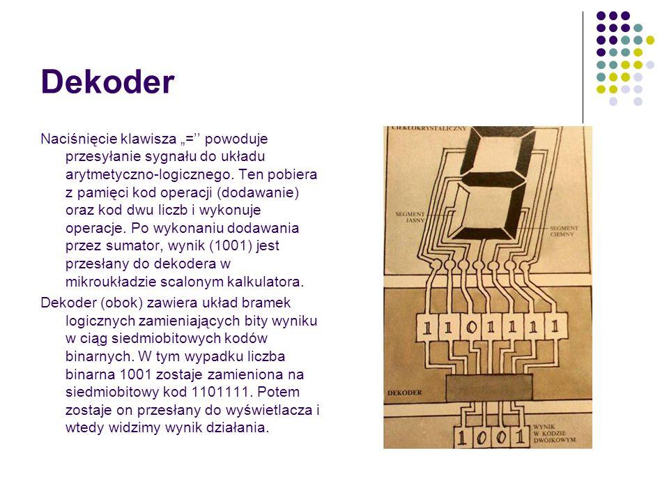 Dekoder Naciśnięcie klawisza = powoduje przesyłanie sygnału do układu arytmetyczno-logicznego.