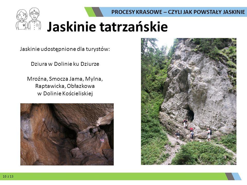 Jaskinie tatrzańskie Jaskinie udostępnione dla turystów: Dziura w Dolinie ku Dziurze Mroźna, Smocza Jama, Mylna, Raptawicka, Obłazkowa w Dolinie Kości