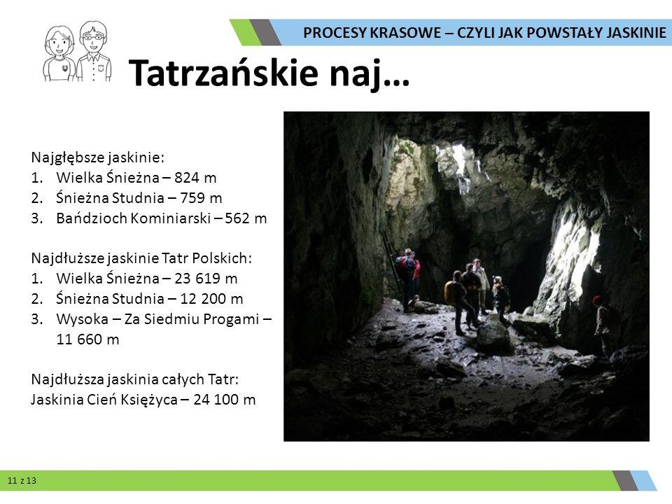 Tatrzańskie naj… Najgłębsze jaskinie: 1.Wielka Śnieżna – 824 m 2.Śnieżna Studnia – 759 m 3.Bańdzioch Kominiarski – 562 m Najdłuższe jaskinie Tatr Pols