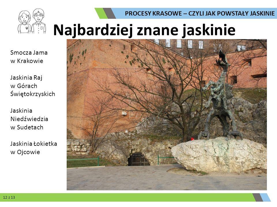 Najbardziej znane jaskinie Smocza Jama w Krakowie Jaskinia Raj w Górach Świętokrzyskich Jaskinia Niedźwiedzia w Sudetach Jaskinia Łokietka w Ojcowie P