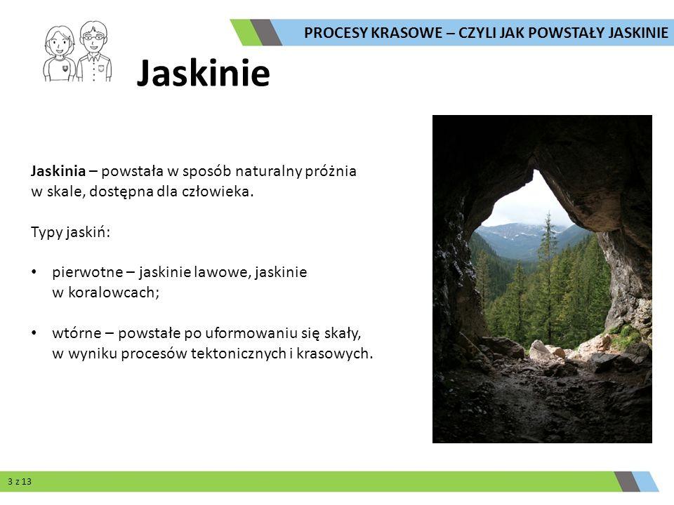 Jaskinie Jaskinia – powstała w sposób naturalny próżnia w skale, dostępna dla człowieka. Typy jaskiń: pierwotne – jaskinie lawowe, jaskinie w koralowc