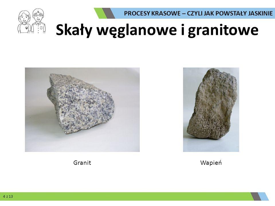 Skały węglanowe i granitowe GranitWapień PROCESY KRASOWE – CZYLI JAK POWSTAŁY JASKINIE 4 z 13