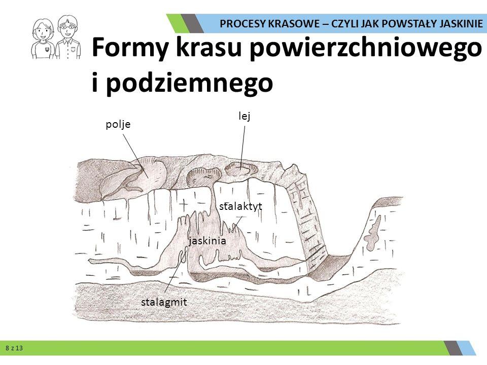 lej polje Formy krasu powierzchniowego i podziemnego jaskinia stalagmit stalaktyt PROCESY KRASOWE – CZYLI JAK POWSTAŁY JASKINIE 8 z 13