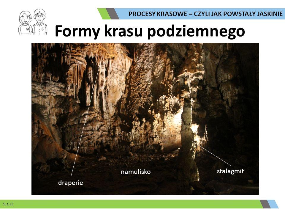 namulisko draperie Formy krasu podziemnego stalagmit PROCESY KRASOWE – CZYLI JAK POWSTAŁY JASKINIE 9 z 13