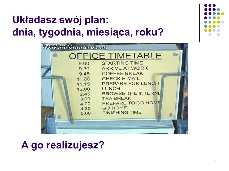 8 Układasz swój plan: dnia, tygodnia, miesiąca, roku? A go realizujesz?