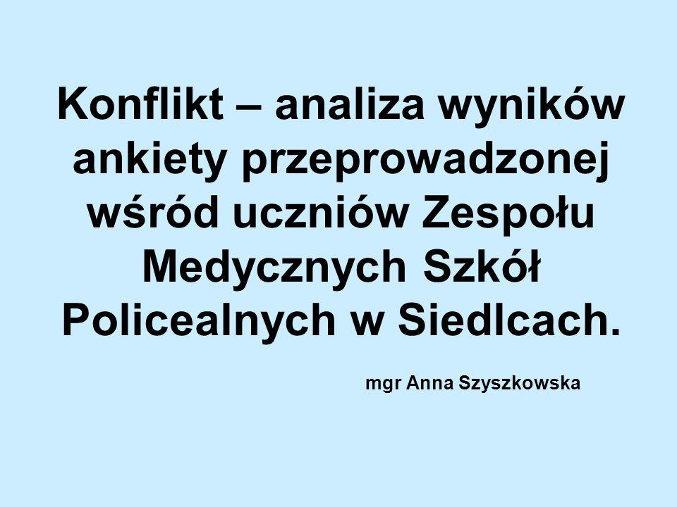 Konflikt – analiza wyników ankiety przeprowadzonej wśród uczniów Zespołu Medycznych Szkół Policealnych w Siedlcach. mgr Anna Szyszkowska