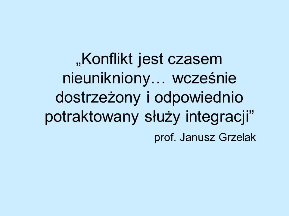 Konflikt jest czasem nieunikniony… wcześnie dostrzeżony i odpowiednio potraktowany służy integracji prof. Janusz Grzelak