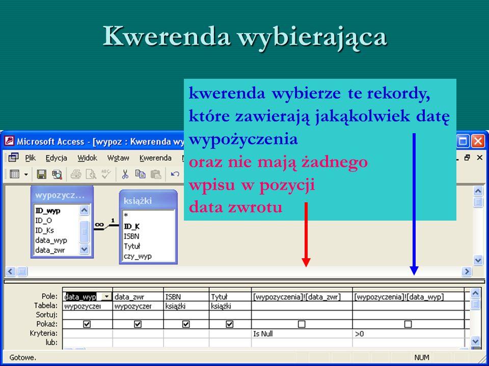 Kwerenda wybierająca kwerenda wybierze te rekordy, które zawierają jakąkolwiek datę wypożyczenia oraz nie mają żadnego wpisu w pozycji data zwrotu