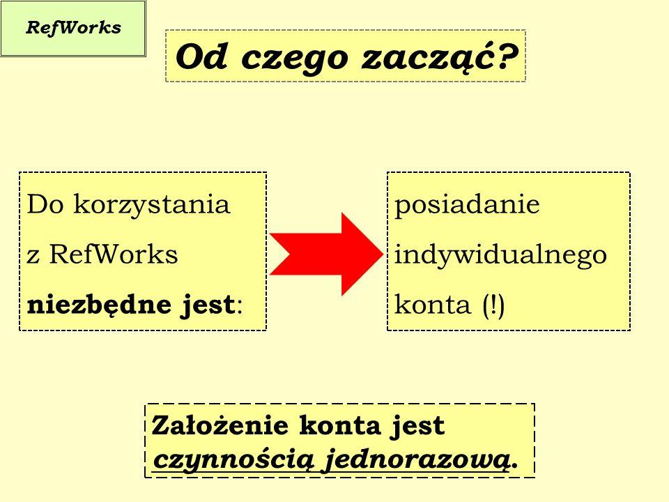 RefWorks Pierwsze kroki Przed rozpoczęciem pracy w RefWorks należy: - na stronie głównej BUW wejść do podfolderu RefWorks - zalogować się na już istniejące konto lub (!) - utworzyć nowe konto ścieżka dostępu: StartStart / ZbioryStart / Zbiory / E-zbioryStart / Zbiory / E-zbiory / RefWorks na UW możliwości dostępu:kod grupowy RWWarsawUni