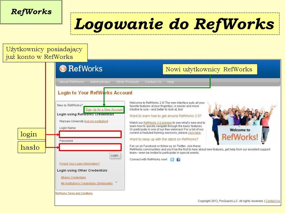 Nowi użytkownicy RefWorks Użytkownicy posiadający już konto w RefWorks RefWorks Logowanie do RefWorks hasło login