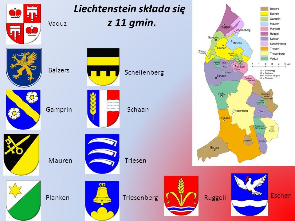 LIECHTENSTEIN - ciekawostki * Leży pomiędzy Austrią i Szwajcarią * Stolica: Vaduz * Największe miasta: Schaan, Vaduz * Język urzędowy: niemiecki * Ustrój polityczny: monarchia konstytucyjna * Nie jest członkiem Unii Europejskiej * Głowa państwa: książę Hans-Adam II * Następca tronu: książe Alojzy * Powierzchnia: 160 km 2 * Ludność: ok.