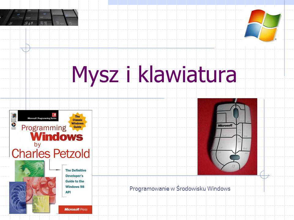 Klawiatura Komunikaty znaków WM_CHAR / WM_SYSCHAR WM_DEADCHAR / WM_SYSDEADCHAR lParam – tak samo jak przy KEY wParam – kod ANSI / UNICODE (TCHAR) RegisterClassA() i RegisterClassW() Programowanie w Środowisku Windows