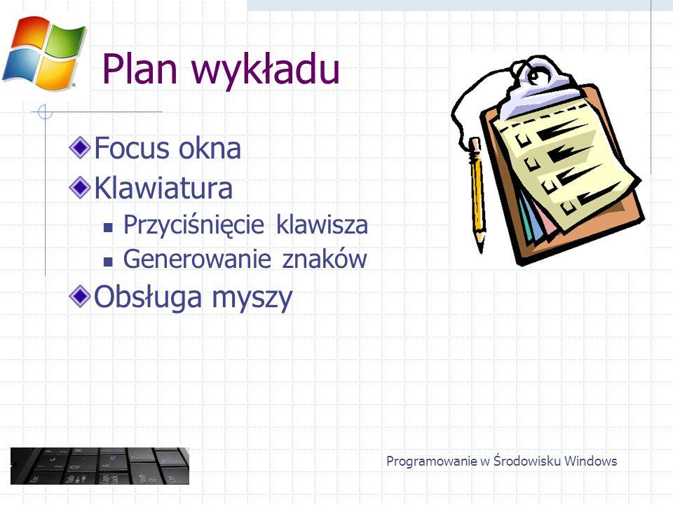 Klawiatura Generacja komunikatu WM_CHAR TranslateMessage() Kolejność komunikatów: DOWN, CHAR, UP Obsługa znaków posiadających kod ASCII Programowanie w Środowisku Windows
