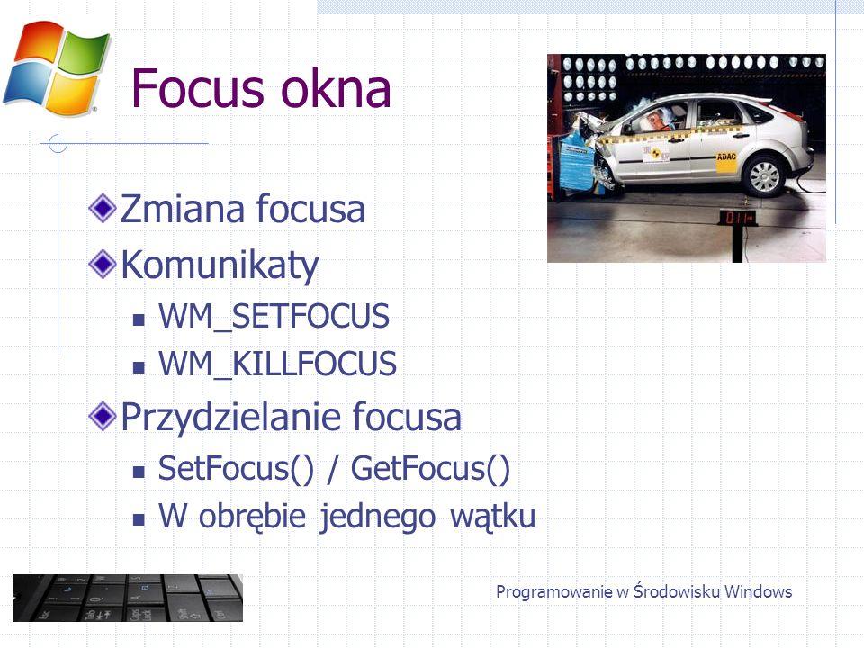 Focus okna Aktywacja okna SetActiveWindow() / GetActiveWindow() WM_ACTIVATE Przydzielanie w obrębie jednego wątku Programowanie w Środowisku Windows