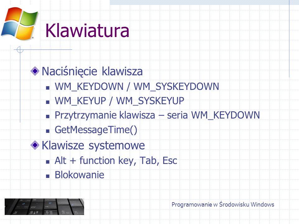 Klawiatura Parametry komunikatów KEY wParam – kod VK_*** VK_MENU = Alt lParam Repeat Count Context Code Programowanie w Środowisku Windows