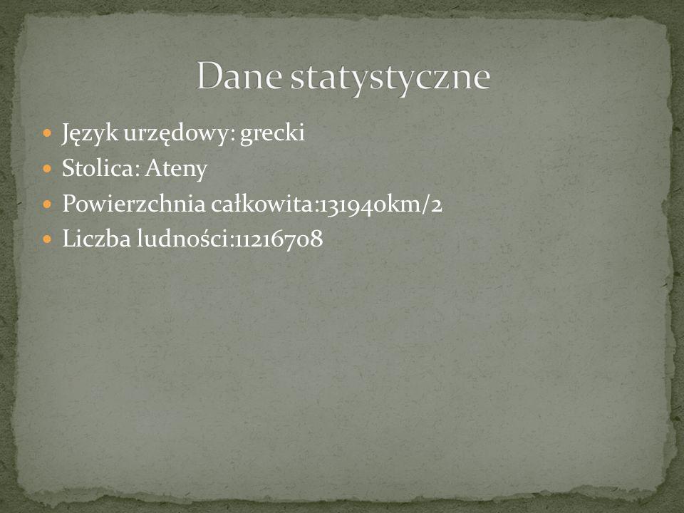 Język urzędowy: grecki Stolica: Ateny Powierzchnia całkowita:131940km/2 Liczba ludności:11216708