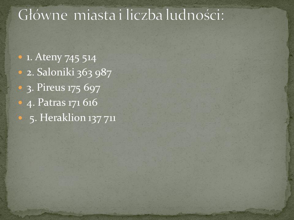 1. Ateny 745 514 2. Saloniki 363 987 3. Pireus 175 697 4. Patras 171 616 5. Heraklion 137 711