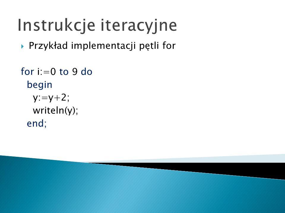Instrukcje iteracyjne W języku Pascal możliwa jest konstrukcja pętli, która będzie automatycznie wykonywana do czasu spełnienia określonego warunku.