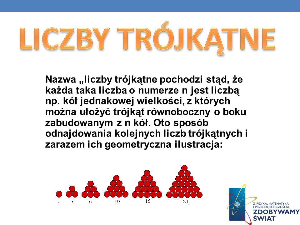 Nazwa liczby trójkątne pochodzi stąd, że każda taka liczba o numerze n jest liczbą np. kół jednakowej wielkości, z których można ułożyć trójkąt równob
