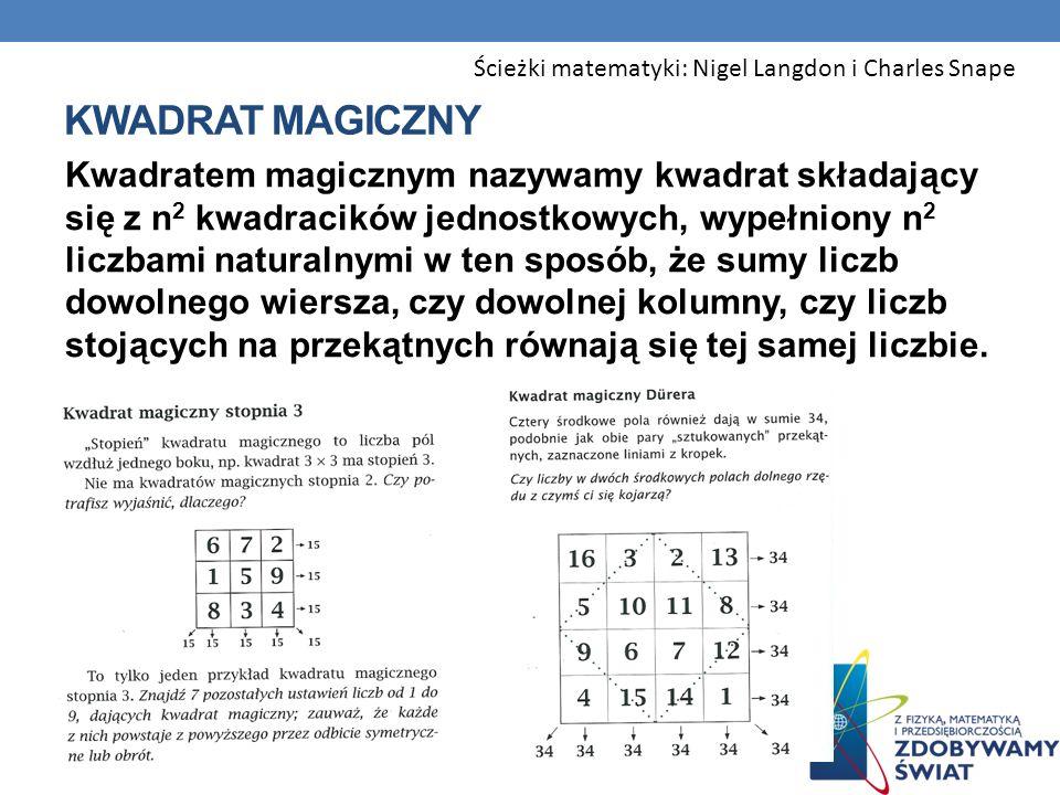 KWADRAT MAGICZNY Kwadratem magicznym nazywamy kwadrat składający się z n 2 kwadracików jednostkowych, wypełniony n 2 liczbami naturalnymi w ten sposób