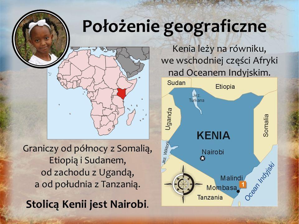 Kenia leży na równiku, we wschodniej części Afryki nad Oceanem Indyjskim. Położenie geograficzne Graniczy od północy z Somalią, Etiopią i Sudanem, od