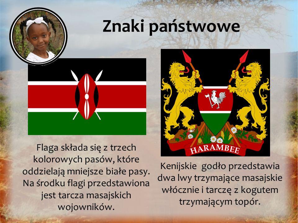 Znaki państwowe Kenijskie godło przedstawia dwa lwy trzymające masajskie włócznie i tarczę z kogutem trzymającym topór. Flaga składa się z trzech kolo