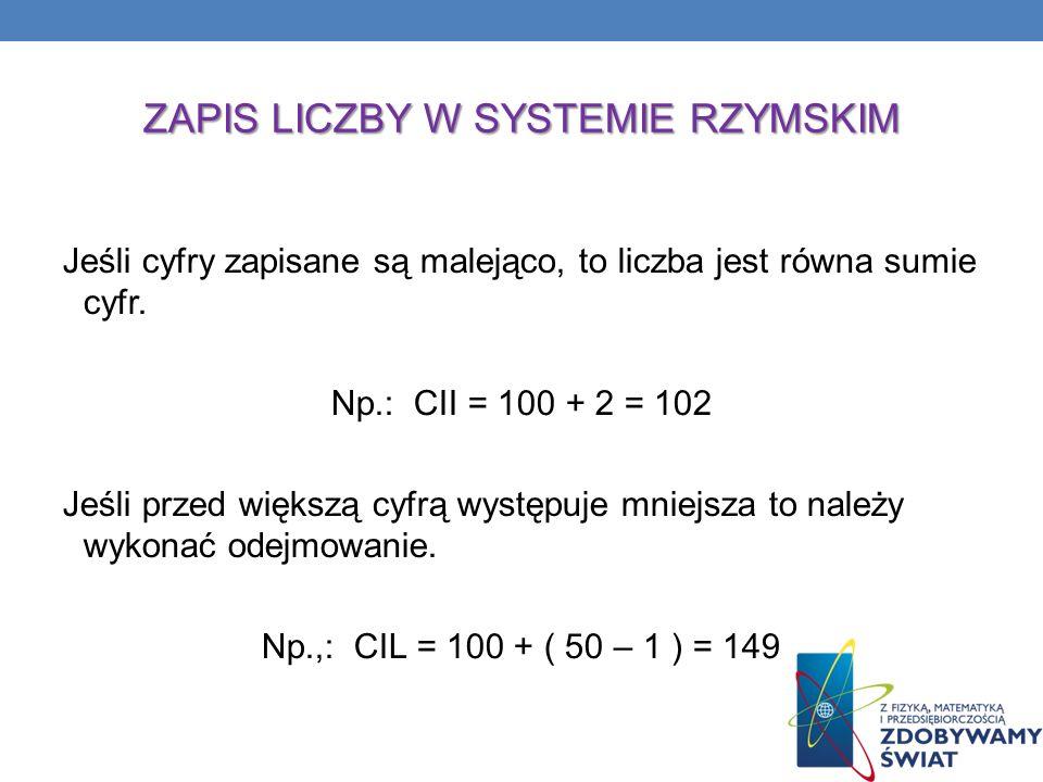 ZAPIS LICZBY W SYSTEMIE RZYMSKIM Jeśli cyfry zapisane są malejąco, to liczba jest równa sumie cyfr. Np.: CII = 100 + 2 = 102 Jeśli przed większą cyfrą