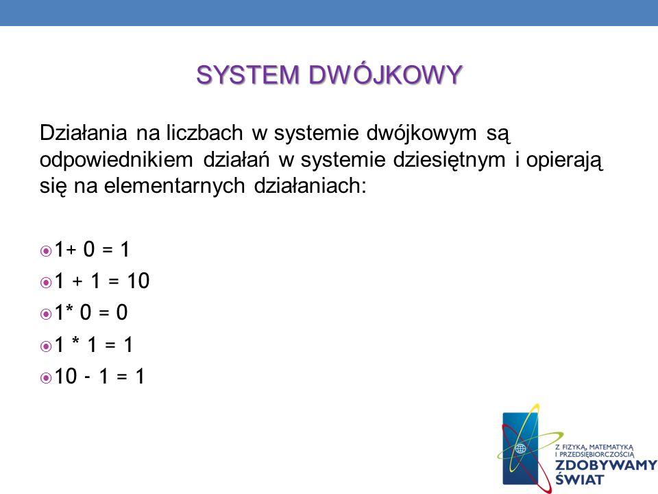 SYSTEM DWÓJKOWY Działania na liczbach w systemie dwójkowym są odpowiednikiem działań w systemie dziesiętnym i opierają się na elementarnych działaniac
