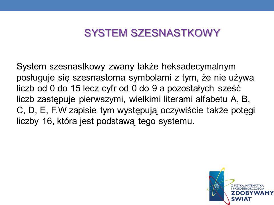 SYSTEM SZESNASTKOWY System szesnastkowy zwany także heksadecymalnym posługuje się szesnastoma symbolami z tym, że nie używa liczb od 0 do 15 lecz cyfr