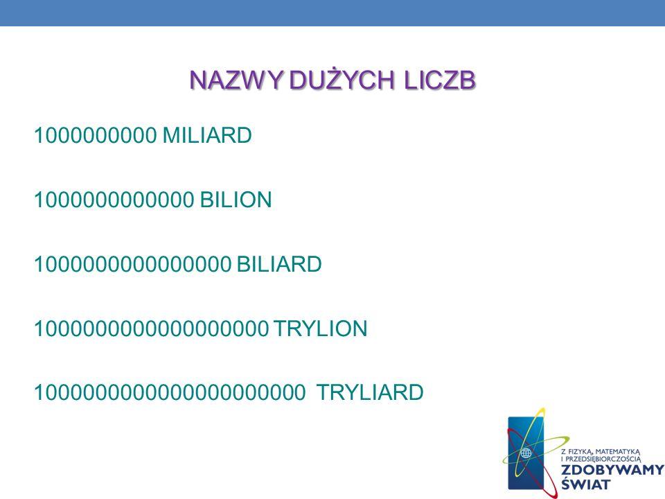NAZWY DUŻYCH LICZB 1000000000 MILIARD 1000000000000 BILION 1000000000000000 BILIARD 1000000000000000000 TRYLION 1000000000000000000000 TRYLIARD