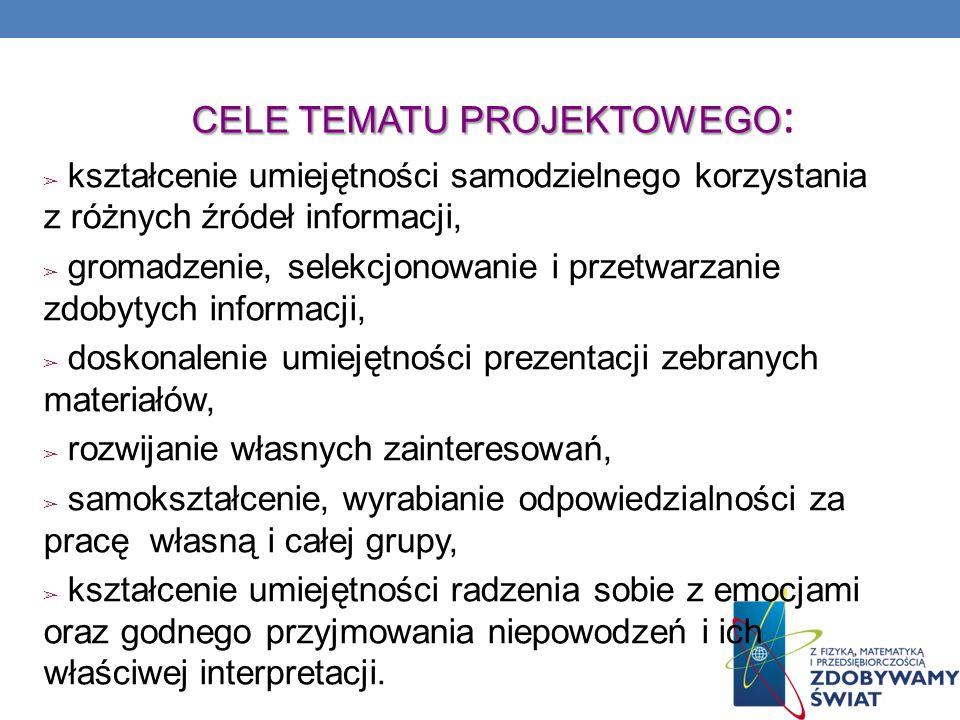 CELE TEMATU PROJEKTOWEGO CELE TEMATU PROJEKTOWEGO : kształcenie umiejętności samodzielnego korzystania z różnych źródeł informacji, gromadzenie, selek