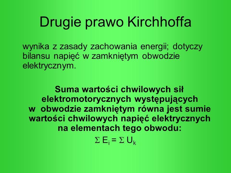 Drugie prawo Kirchhoffa wynika z zasady zachowania energii; dotyczy bilansu napięć w zamkniętym obwodzie elektrycznym. Suma wartości chwilowych sił el