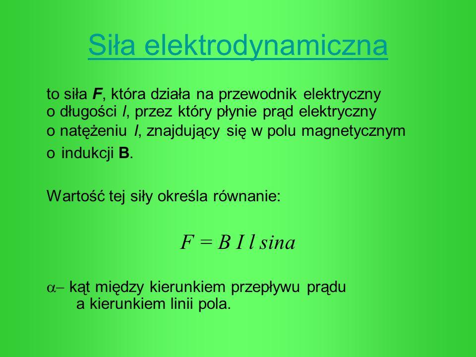 Siła elektrodynamiczna to siła F, która działa na przewodnik elektryczny o długości l, przez który płynie prąd elektryczny o natężeniu I, znajdujący s