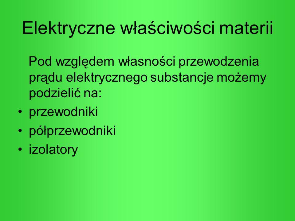 Elektryczne właściwości materii Pod względem własności przewodzenia prądu elektrycznego substancje możemy podzielić na: przewodniki półprzewodniki izo