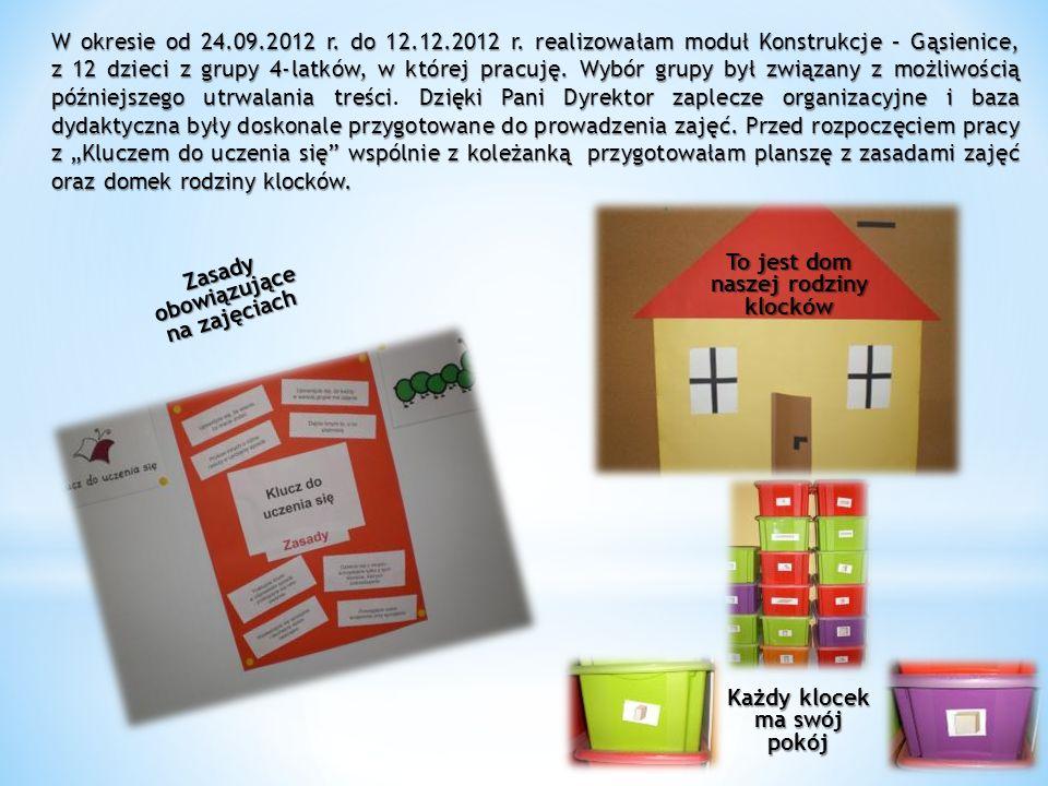 Zasady obowiązujące na zajęciach To jest dom naszej rodziny klocków Każdy klocek ma swój pokój W okresie od 24.09.2012 r. do 12.12.2012 r. realizowała