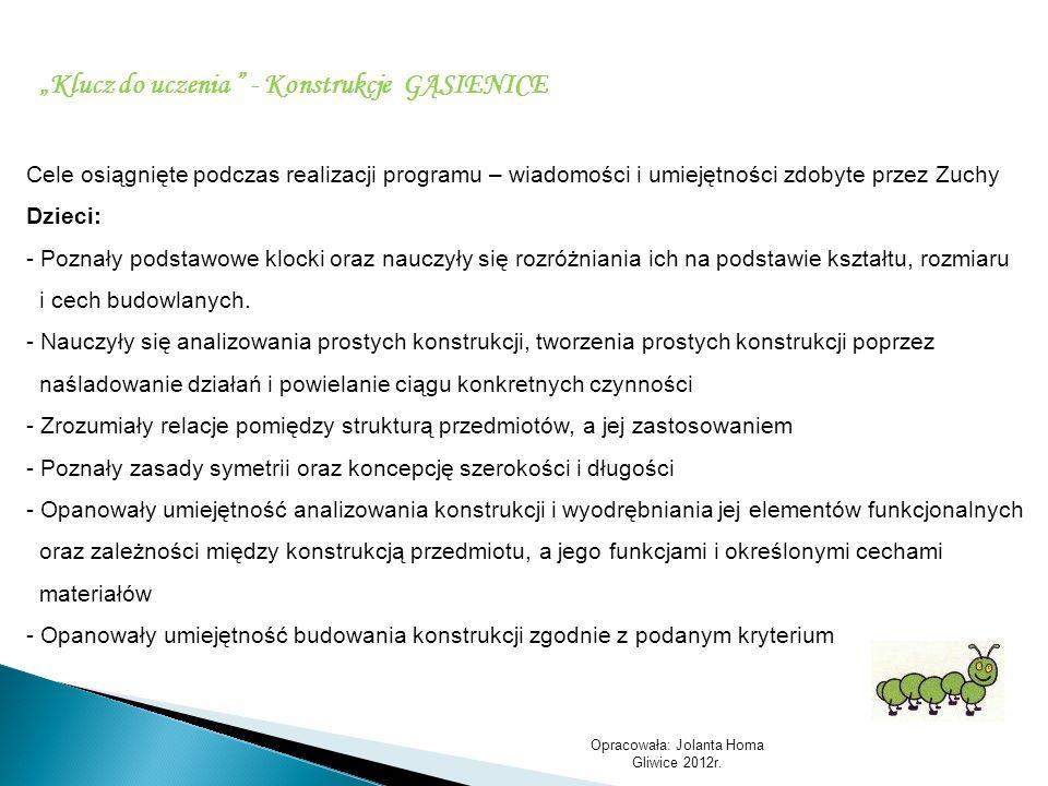 Opracowała: Jolanta Homa Gliwice 2012r. Klucz do uczenia - Konstrukcje GĄSIENICE Cele osiągnięte podczas realizacji programu – wiadomości i umiejętnoś