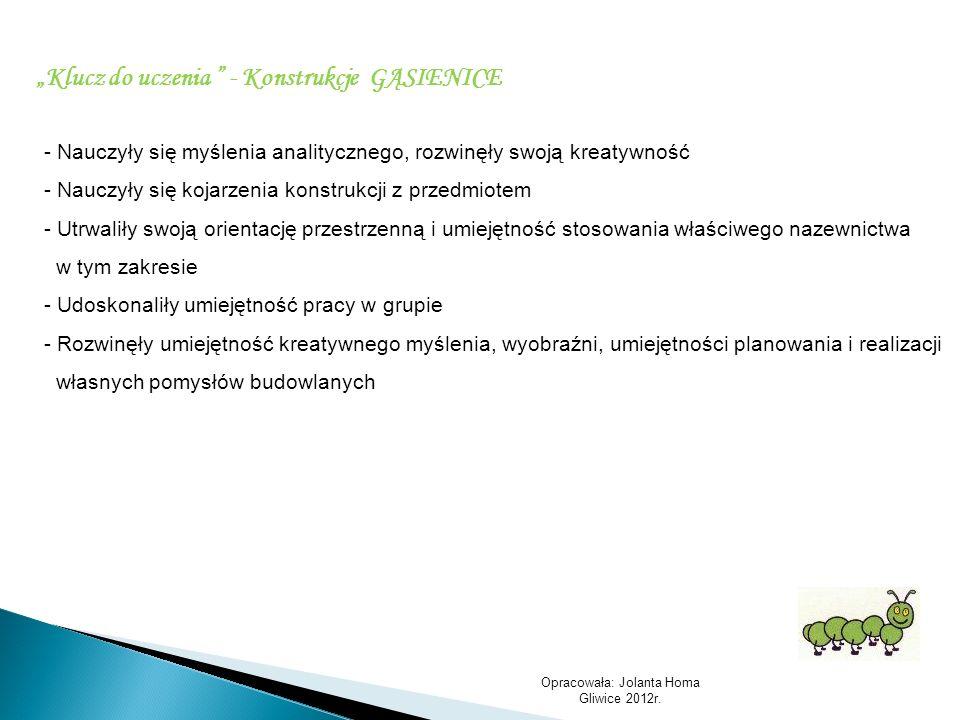 Opracowała: Jolanta Homa Gliwice 2012r. Klucz do uczenia - Konstrukcje GĄSIENICE - Nauczyły się myślenia analitycznego, rozwinęły swoją kreatywność -