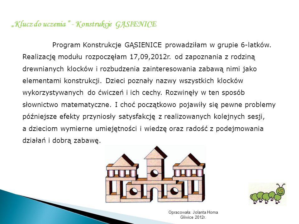 Opracowała: Jolanta Homa Gliwice 2012r. Program Konstrukcje GĄSIENICE prowadziłam w grupie 6-latków. Realizację modułu rozpoczęłam 17,09,2012r. od zap