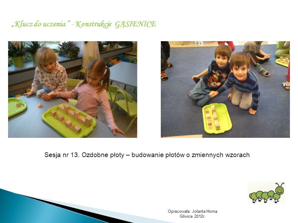 Opracowała: Jolanta Homa Gliwice 2012r. Klucz do uczenia - Konstrukcje GĄSIENICE Sesja nr 13. Ozdobne płoty – budowanie płotów o zmiennych wzorach