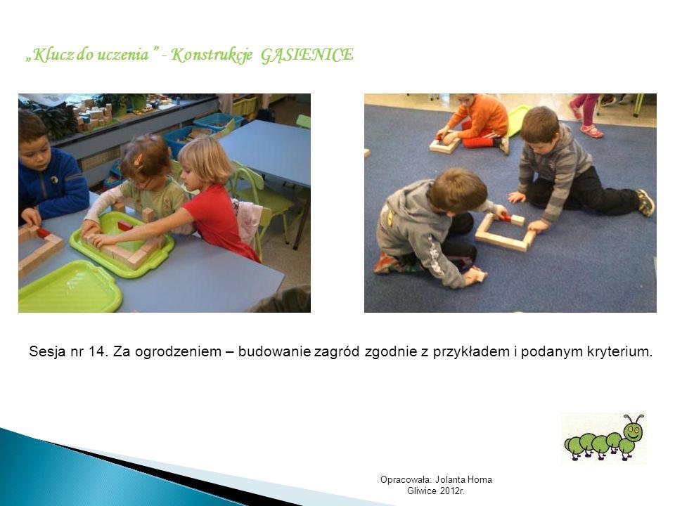 Opracowała: Jolanta Homa Gliwice 2012r. Klucz do uczenia - Konstrukcje GĄSIENICE Sesja nr 14. Za ogrodzeniem – budowanie zagród zgodnie z przykładem i