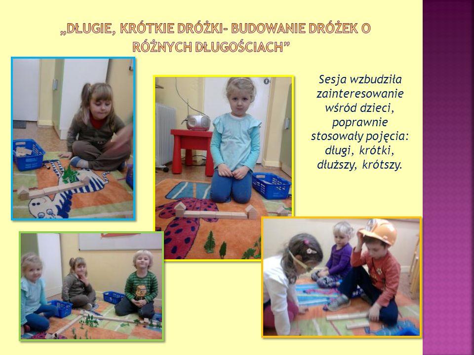 Sesja wzbudziła zainteresowanie wśród dzieci, poprawnie stosowały pojęcia: długi, krótki, dłuższy, krótszy.